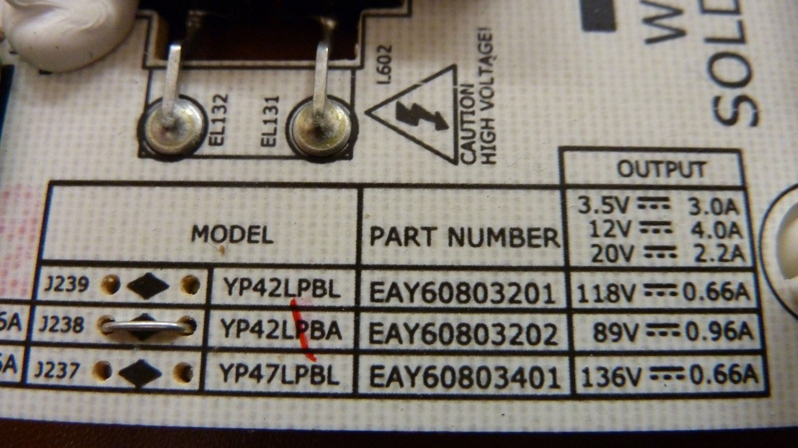 LG EAY60803202 POWER SUPPLY BOARD FOR 42LE5400 AND OTHER MODELS